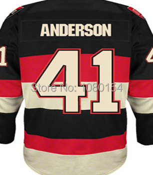 Ottawa Craig Anderson Hokcey Jerseys #41 Alternate Third Black Cheap Mens Stitched Best Quality Hockey Shirts Fast Shipping