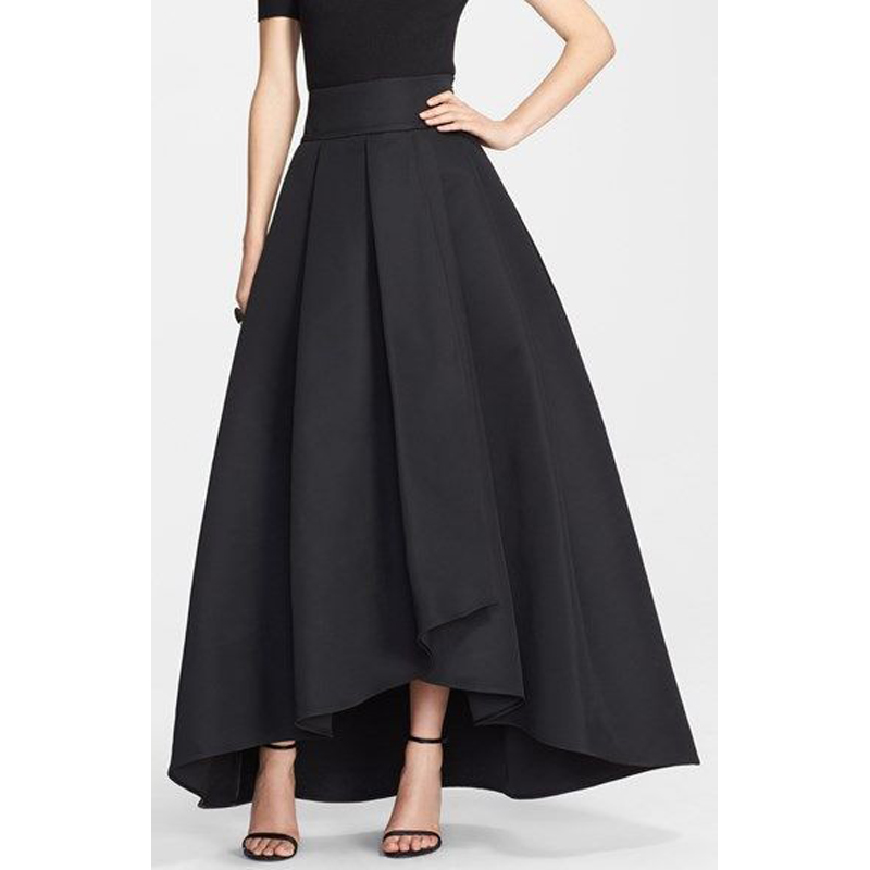 Long Black High Waisted Skirt - Redskirtz