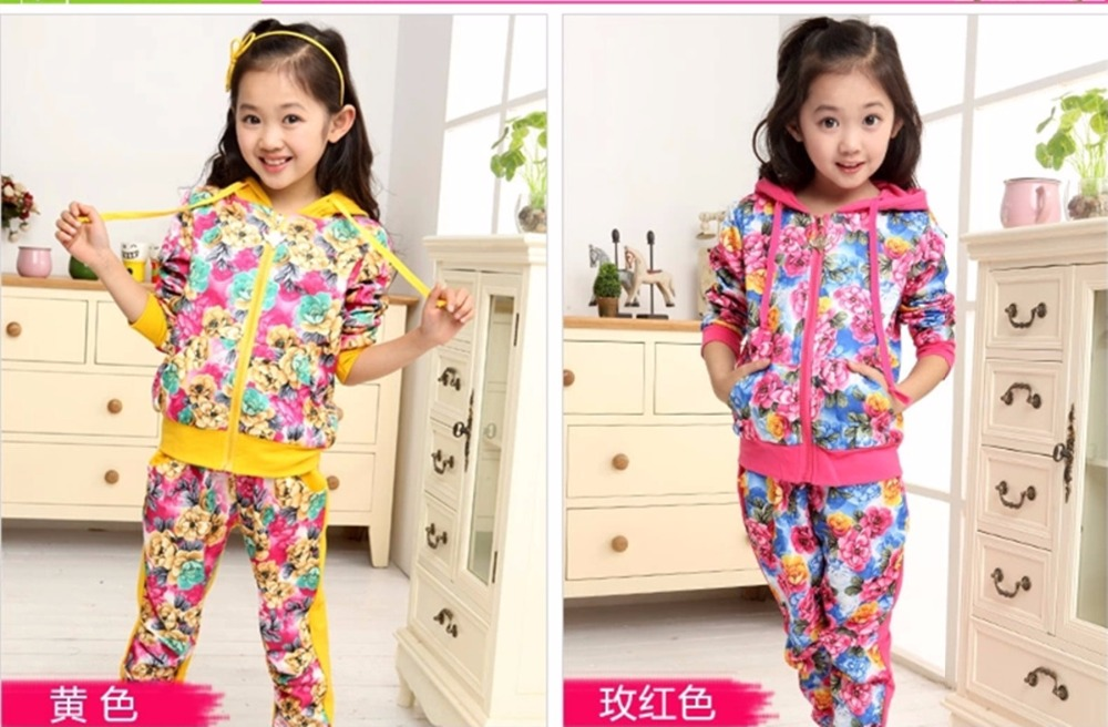 HOT 2016 spring girl casual print hooded suit two piece kids clothes 5-9-12 years old girls clothes fashion suit for children(China (Mainland))