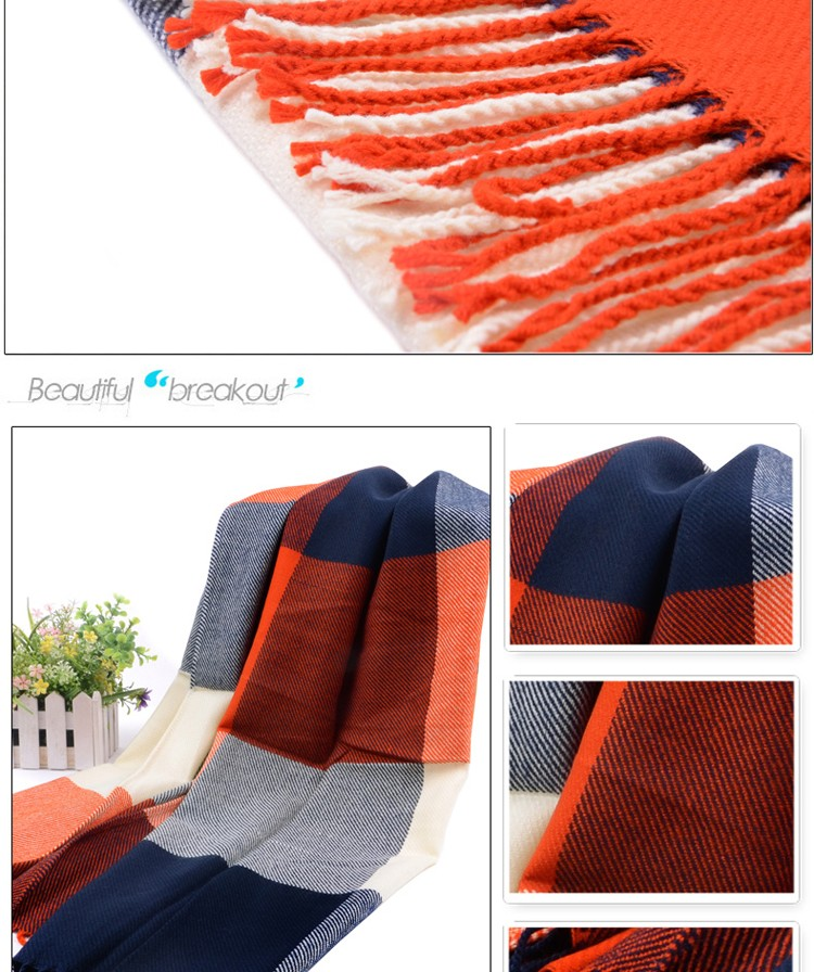 Fashion Wool Winter Scarf Women Spain Desigual Scarf Plaid Thick Brand Shawls and Scarves for Women