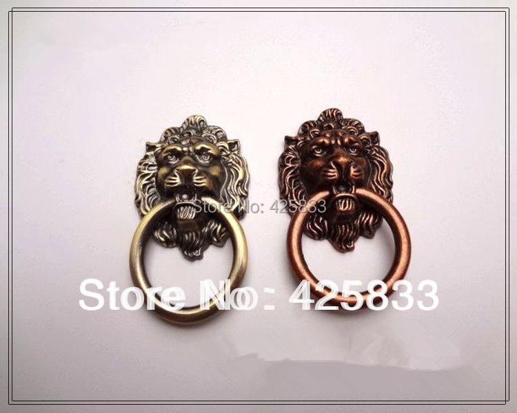10pcs Antique Bronze Lion Head Dresser Knobs Modern Baby Pulls Cabinet Hardware Closet Handles Cartoon Wholesale(China (Mainland))