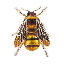 Милая брошь с насекомым Пчелой, булавка, желтая, зеленая, эмалированная, сплав, брошь для женщин, вечерние, мужской костюм, булавка на лацкане...(China)