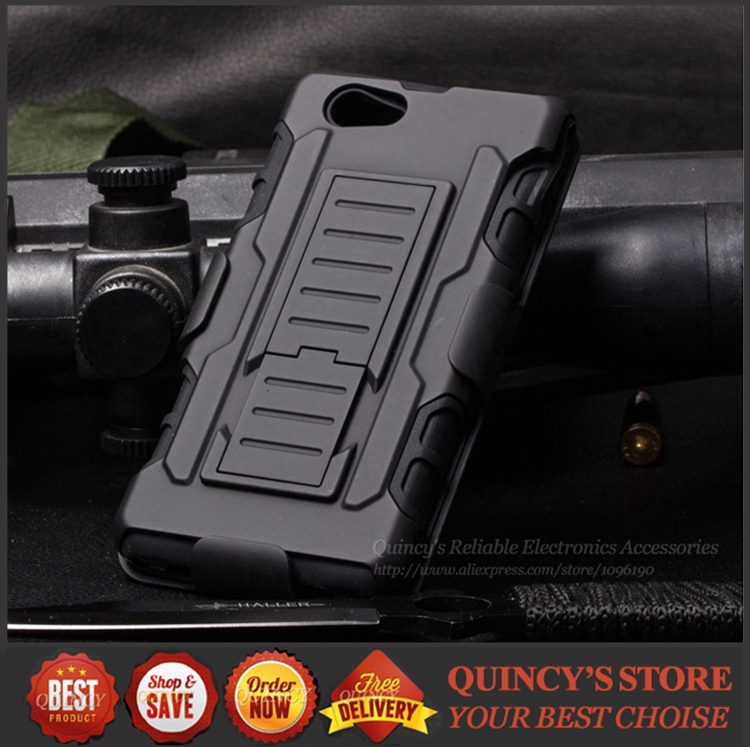 100pcs Future Armor Impact Holster Rugged Hybrid Hard Case For Sony Xperia Compact Z1 Mini D5503 New Cell Phone Cases(China (Mainland))