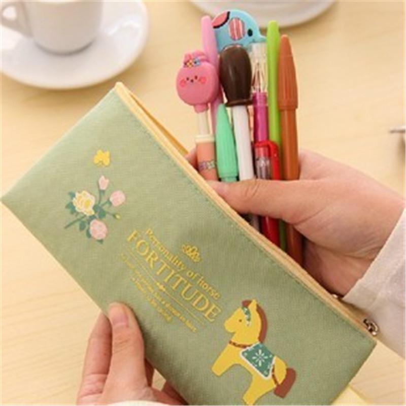 Cute Kawaii Cloth Zipper Pencil Case Lovely Cartoon Pony pattern Pencil Bag For Kids Gift Korean Stationery W2.15(China (Mainland))