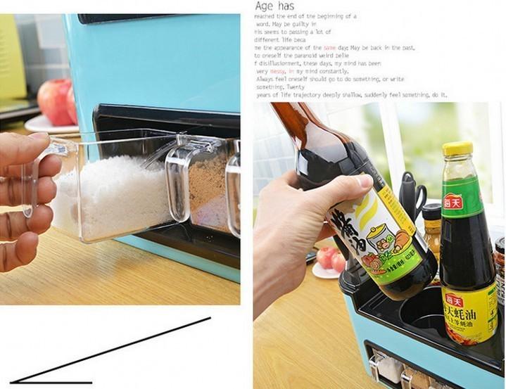 Buy Fashion Kitchen Combination Set Multifunctional Kitchen Tool Plastic Shelf Knife Holder Seasoning Box Condiment Bottles Cans Set cheap
