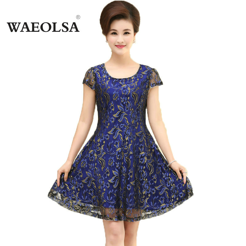 Middle Aged Woman Summer Classy Flower Lace Dress Mature Ladies Chic Purple Blue Plus Size Short Sleeve Dresses Mother Clothings(China (Mainland))
