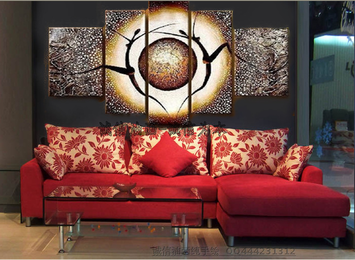 Hand painted modern home decorative 5 pieces canvas art for Modern home decor pieces