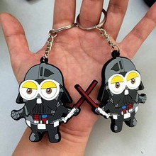 Minions COS Darth Vader star war Anakin Skywalker figure keychains Despicable Me PVC double-faced Mobile Phone Straps(China (Mainland))