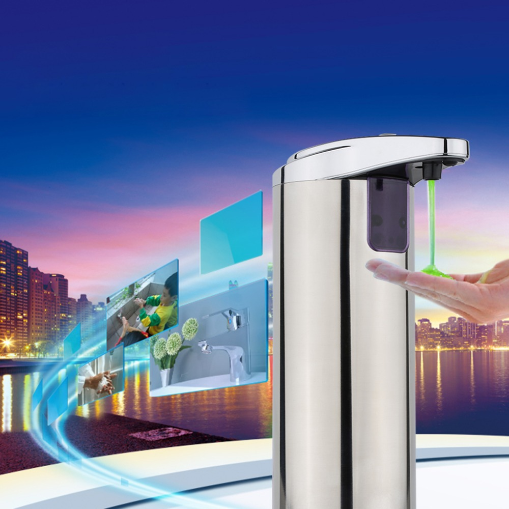 New 280ml Automatic Sensor Soap Dispenser Base Wall Mounted Stainless Steel Touch-free Sanitizer Dispenser For Kitchen Bathroom(China (Mainland))