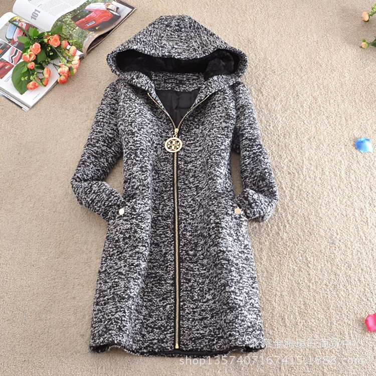 4XL New 2015 Fashion Winter Woolen Coat Women Thick Slim Outerwear Long sleeve Jackets Plus size NZ001 - Charlotte's fashion store