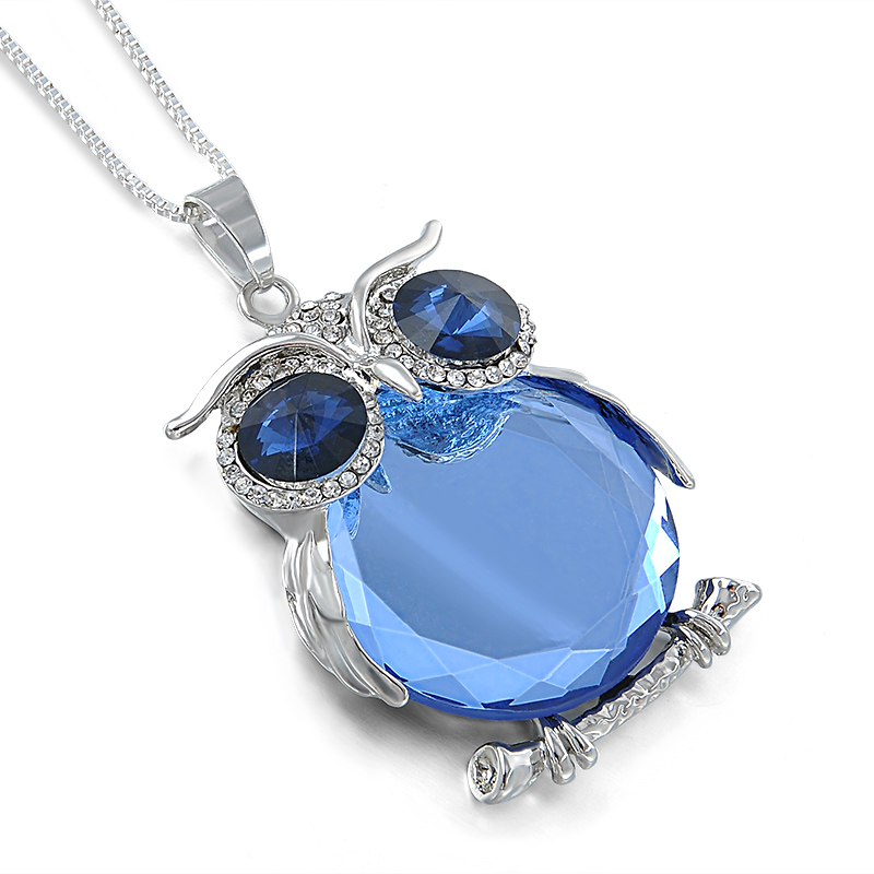 Hot Female Crystal Blue Glass Owl Pendant Necklaces Silver Plated Chain Animal Long Sweater Necklace Jewelry For Women(China (Mainland))