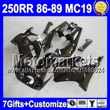 7gifts HONDA CBR250RR MC19 ALL Black 86-89 CBR250 RR QM6 CBR 250RR 86 87 Glossy black 88 89 1986 1987 1988 1989 Fairing - Motomarkets store