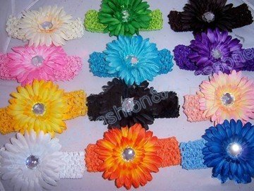 free shipping wholesale 60pcs 1.5 inch Gerbera Crochet band girls 4'' daisy baby hair bow clip flower Headband fast deliever(China (Mainland))