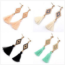 Buy Vintage Ethnic 4 Colors Long Rope Tassel Drop Earrings Bohemian Women Simple Style Pendant Dangle Earring Jewelry Accessories for $1.19 in AliExpress store