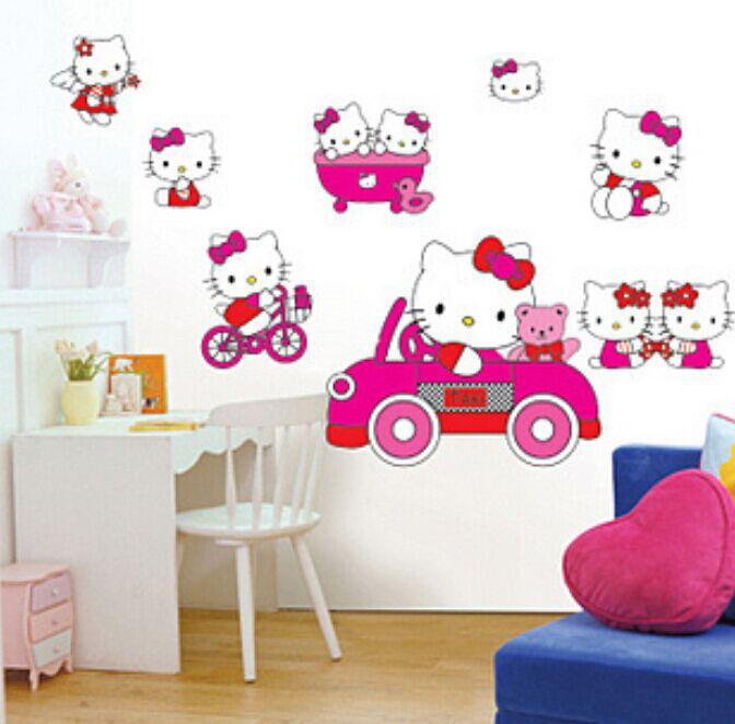 Hot 3D Paper Cartoon Cute Pink Hello Kitty Wall Sticker Decals ...