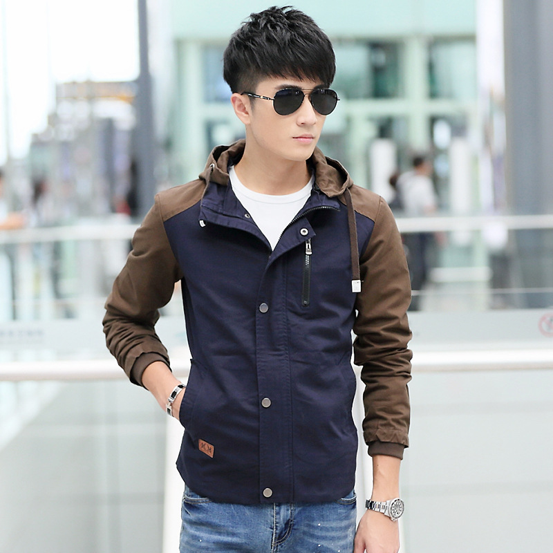 Patchwork Jacket Men 2015 Casual Cotton Washed Mens Jackets And Coats Korean Slim Hooded Men Autumn Jacket 3XLОдежда и ак�е��уары<br><br><br>Aliexpress