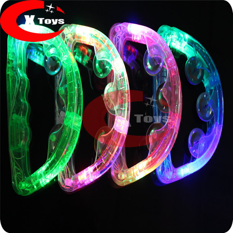 Wholesale LED flashing Tambourine Party supplier light up Tambourine Holiday KTV Tambourine 50pcs/lot fast delivery free shiping(China (Mainland))