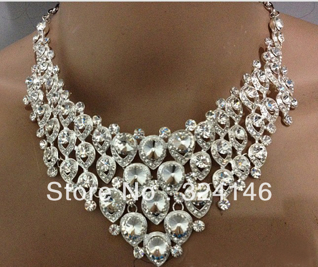 Hot sale Factory price high quality crystal bridal jewelry sets rhinesonte wedding jewelry set  TL063