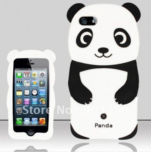 Wholesale PANDA BEAR SOFT GEL RUBBER SKIN CASE COVER FOR APPLE iPHONE 5 6th GEN 100pcs/lot Various Color stock free shipping DHL