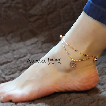 Elegant Ancient Coin & Jingle Bell Pendants 2-layer Anklet for Women, Barefoot Sandal Rose Gold Plated Foot Chain FREE SHIPPING(China (Mainland))