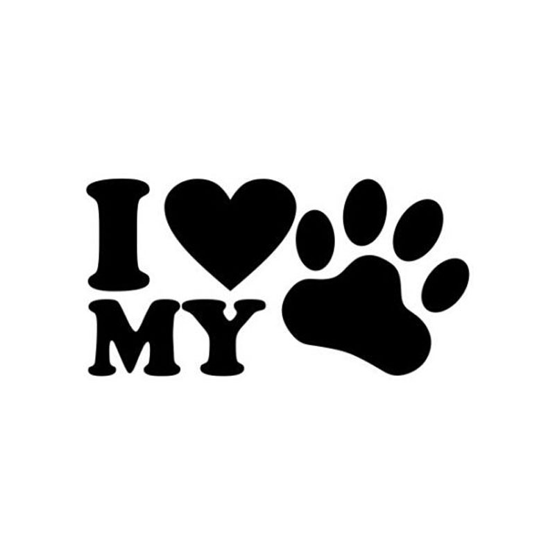 12.6CM*6.6CM Car Styling I Love My Dog Vinyl Sticker Personality Paw Body Sticker C5-0025(China (Mainland))