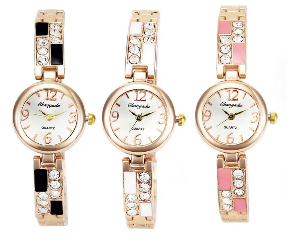 3 Color Crystal Stainless Steel Women Necklace Watch Ladies Chain Bracelet Quartz Wrist Watches