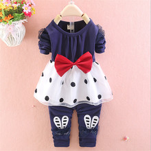 2015 new fashion baby girls clothing set  children spring/autumn lace clothes set kids girls big  bow 2pcs suit free shipping