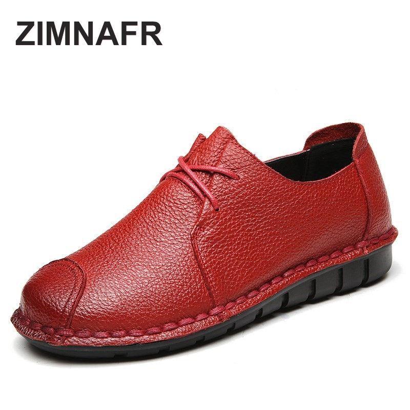 2017 ZIMNAFR BRAND ORIGINAL WOMEN FLATS GENUINE LEATERH CASUAL SHOES PIG LEATHER SOFT NON-SLIP FLATS SIZE 35- 41