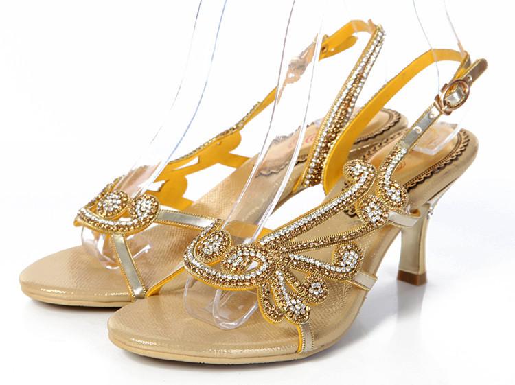 2015 Rhinestone sandals Women/female thin heels big size 34-44 ankle belt cross strap golden lady pumps shoes<br><br>Aliexpress