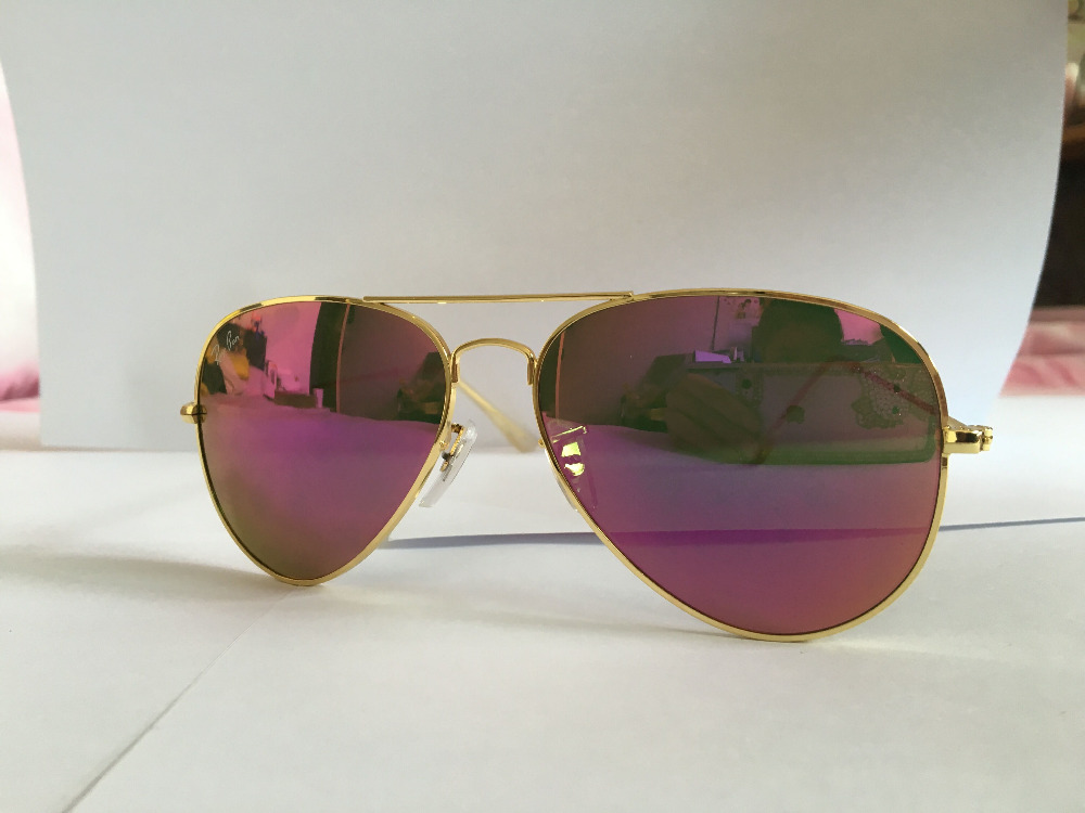 New 2016 fashion top quality metal sunglasses Cyclamen Mirror 3025 pilot style gold frame 58 62 size women wholesale(China (Mainland))