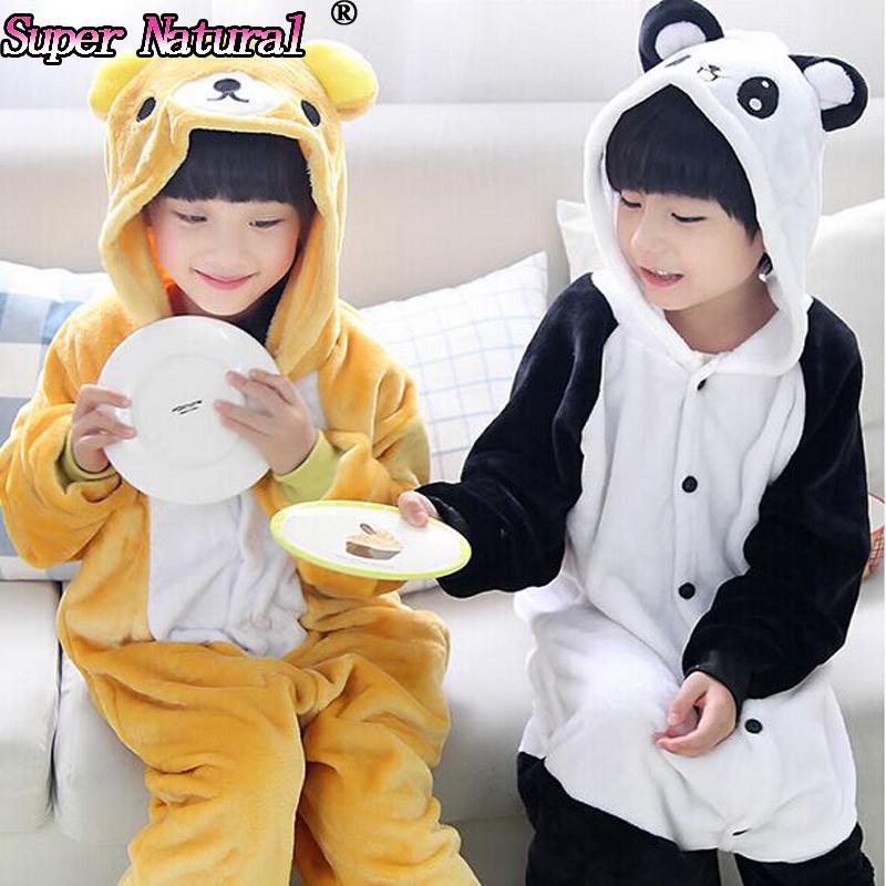 Super Natural Winter Flannel Kids Unisex Animal Anime Catoon Panda Rilakkuma Kigurumis Pajamas Cheap Onesie Costume Sleepwear(China (Mainland))
