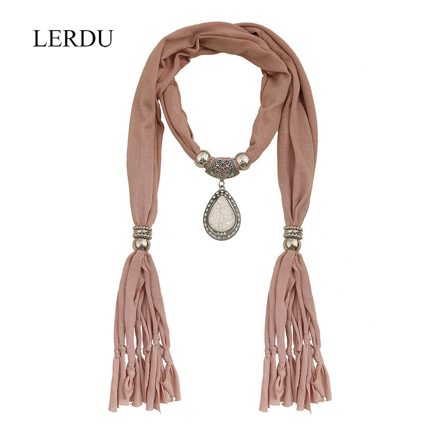 //Brown Jersey Pendant Necklace Scarf//Solid Color Summer Soft Women Sarves With WaterDrop Shape Pendant 2015 New Arrival LERDU(China (Mainland))