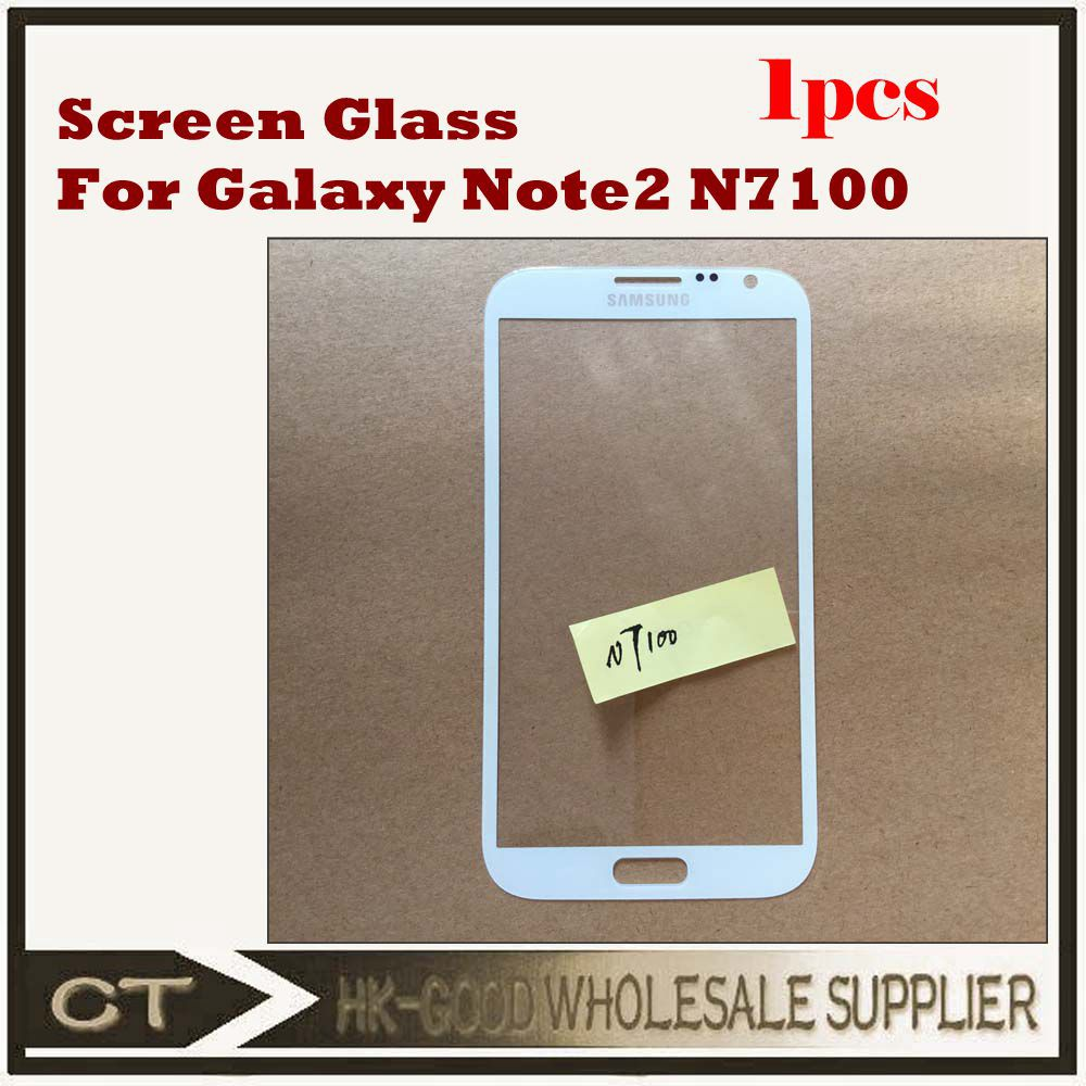 1pcs/lot White Front Glass Replacement For Samsung Galaxy Note 2 II N7100 Glass