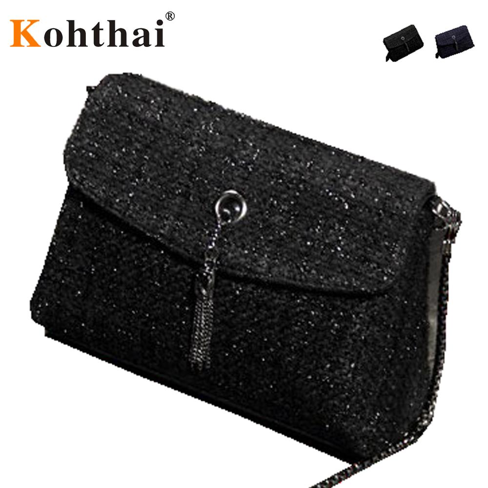 2016 Woolen Cloth Flap Women Bag Plaid Corduroy Women Messenger Bags Designer Handbags High Quality Tassels Chain Bags FB143(China (Mainland))