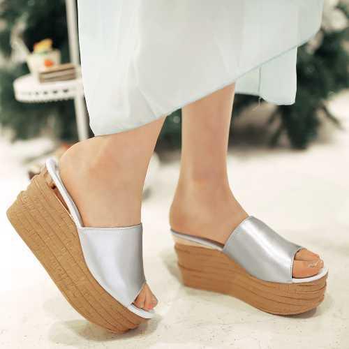 Ladies Slides 2015 Popular Peep Toe Thick Platform High Heels Women's Wedges Shoes Sandals Fashion Slippers(China (Mainland))