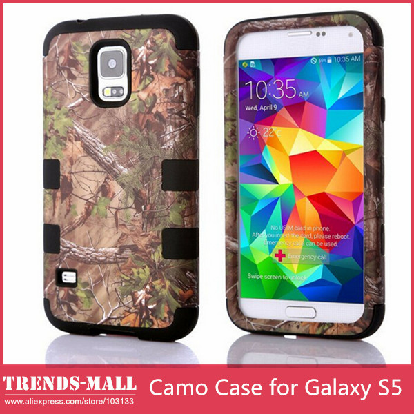 (1 piece/lot) Camo Brown Tree Branch Hard Plastic PC Shell Silicone Cover Case Samsung Galaxy S5 I9600 - Trends-Mall store