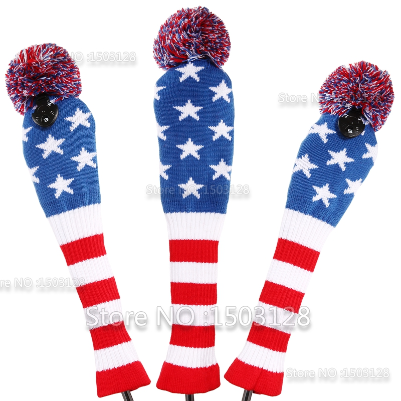 New 3Pcs 1# 3# 5# One Set Stars & Stripes Wool Knit Pom CoversGolf Clubs Set Driver 3# 5# Fairway Wood headcovers(China (Mainland))