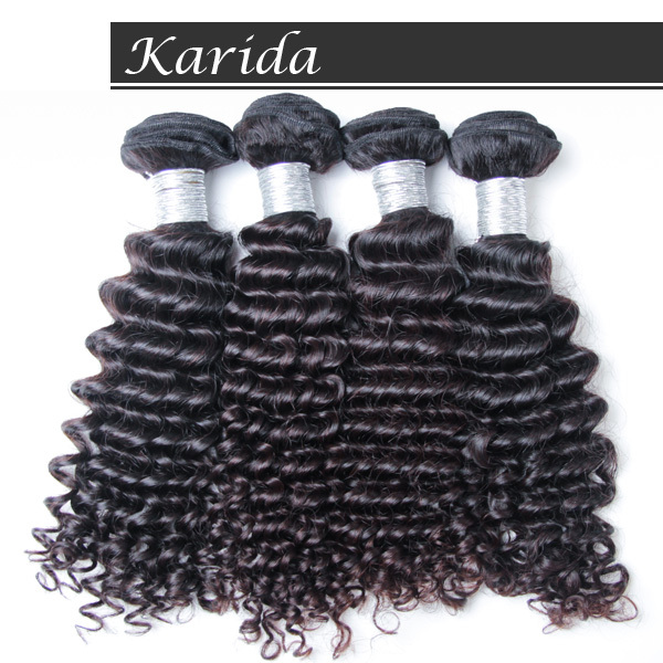 Peruvian Virgin Hair deep wave,4pcs/Lot,unprocessed 5A grade top quality,Karida hair weaves,Natural black color,DHL freeshipping<br>