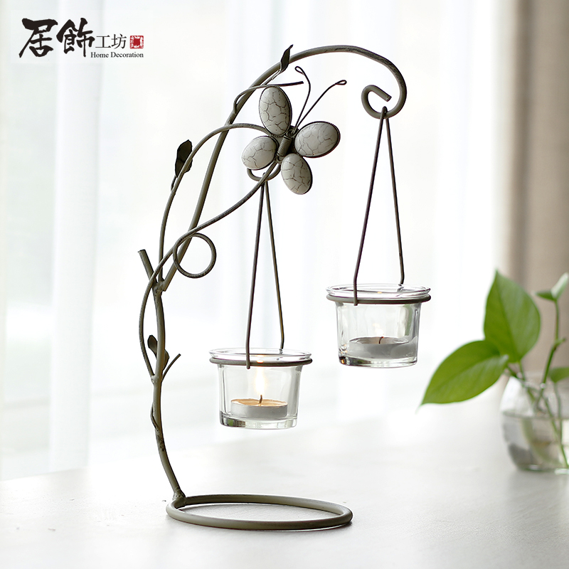 Home decoration brief glass vase fashion rustic iron for Stand decoration