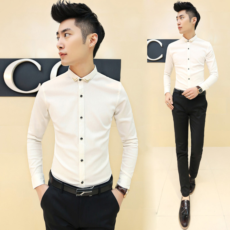 Buy 2016 fashion solid color black white Buy white dress shirt