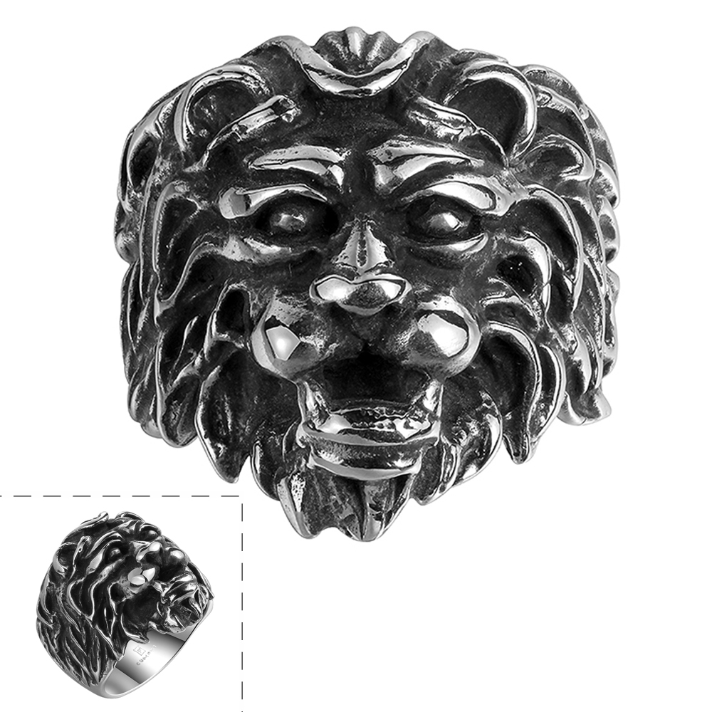 1PC Mens Fashion Vintage Punk Jewelry 316L Stainless Steel Lion Head Ring US Size 8-11 Gift Free Shipping(China (Mainland))