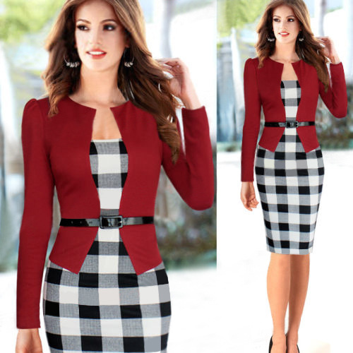 New 2015 Women Long Sleeve Classic Plaid Patchwork Formal Office Business Party Stretch Peplum Tunic Bodycon Pencil Dress S-XXL(China (Mainland))