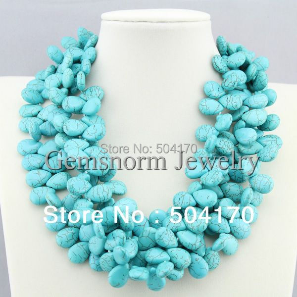 Gorgeous Natural Turquoise Strands Necklace Charms 3 Rows Turquoise Beaded Cluster Party Necklace Jewelry TN063<br><br>Aliexpress