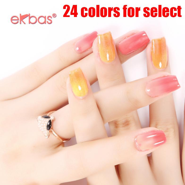 12pcs/lot Ekbas temperatur change color Nail Gel 16ml Nail Art LED UV nail gel Brilliant 24 Colors Alter<br><br>Aliexpress