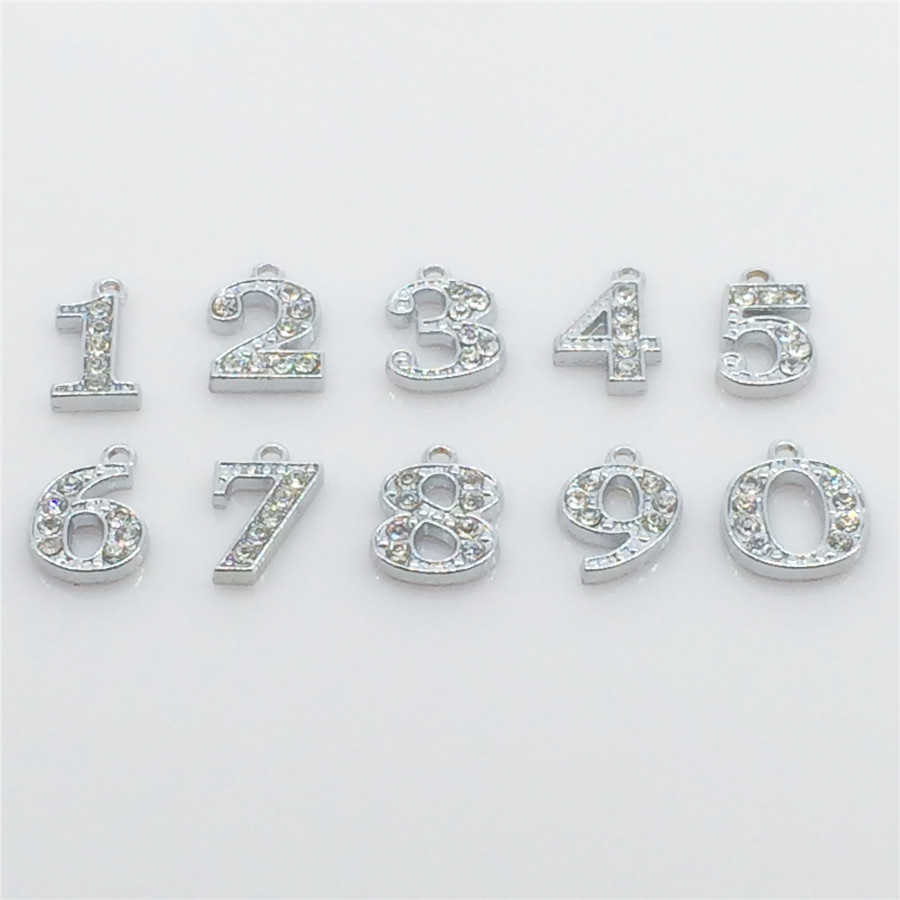 Hot!! 20PCS/Lot Numbers Hang Charms Pendant Full Rhinestones Fit  Necklace Bracelet Collar Cell Phone Charms Free Shipping HC57<br><br>Aliexpress