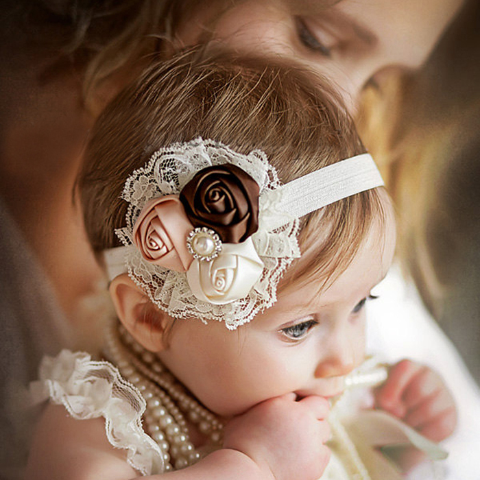 Baby Flower Headband Newborn Photo Prop Lace and Satin Pearls and Gems Baby Shower Gift Free Shipping(China (Mainland))