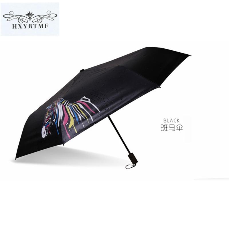 New Fashion Men Women Automatic Umbrella Water Change Color Zebras Three Folding Anti-UV Sun/Rain Big Umbrellas Parasol(China (Mainland))