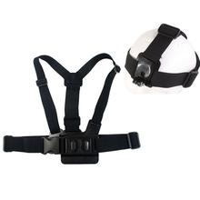 Elastic Adjustable Head Strap Mount Belt and Chest Belt Mount Kit For SJCAM SJ4000 Gopro Hero 4 3+ 3 2 Action Camera Accessories