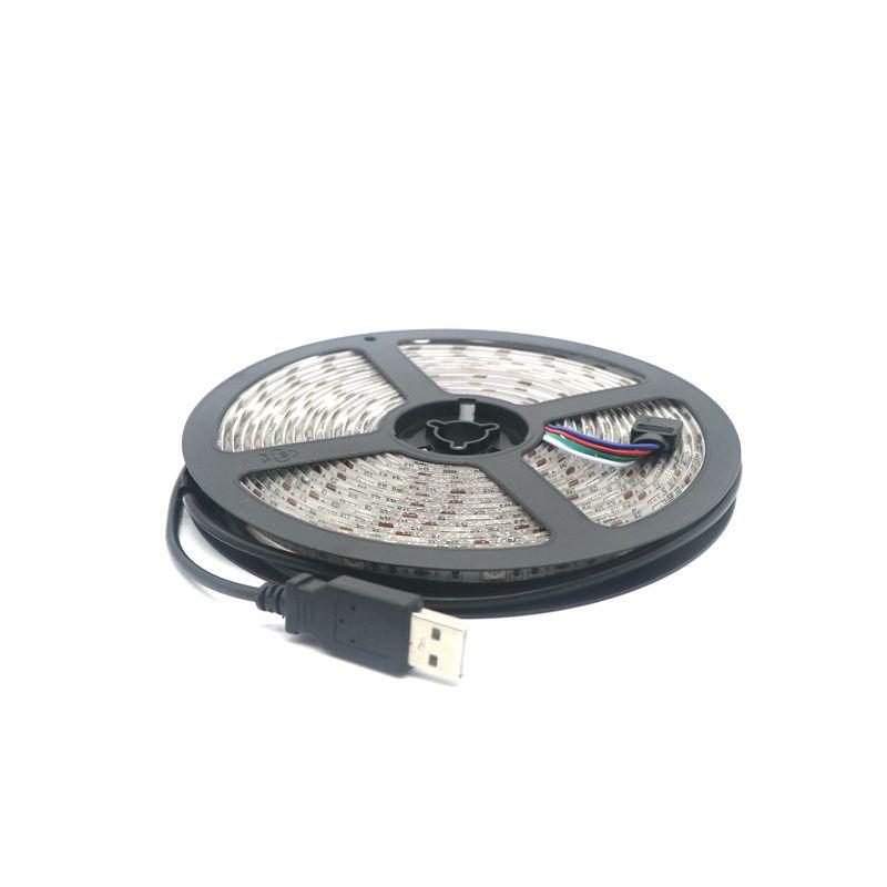 RGB USB LED Strip Light 5050 SMD LED Flexible Strip Light TV Background Lighting Kit USB Cable 5V 500cm 150 LEDS(China (Mainland))