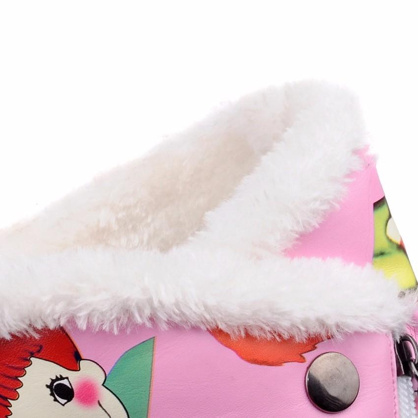 ซื้อ 2016มาใหม่บวกขนาดใหญ่29-46สีดำสีเทาสีชมพูซิปแฟชั่นอบอุ่นขนแฟลตสาวหญิงสตรีรองเท้าหิมะฤดูหนาวX1567